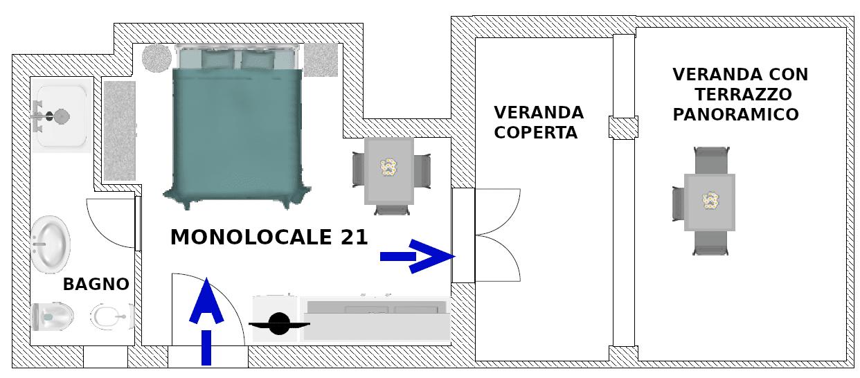 Piantina monolocale deluxe 21