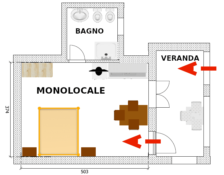 Piantina monolocale 4