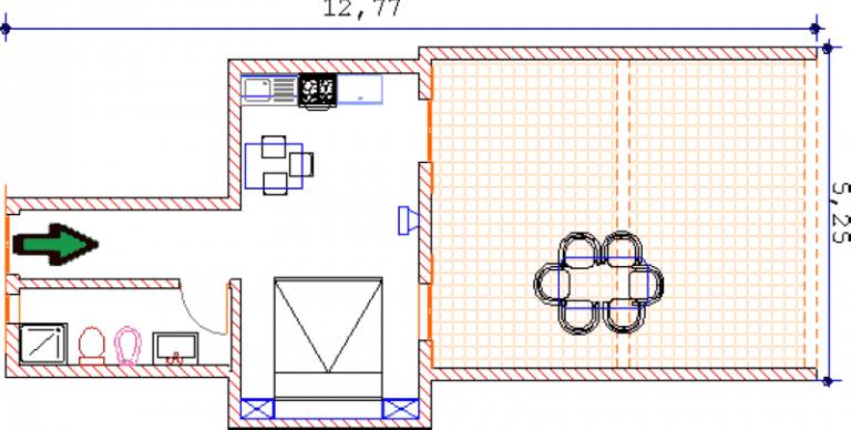 Piantina monolocale 12 al piano superiore